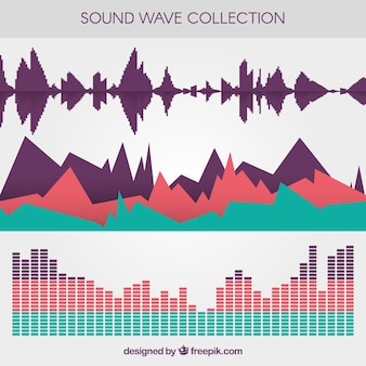 Selection of three colored sound waves in flat design