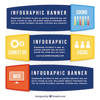 Selection of three infographic banners in flat design