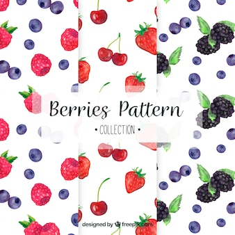 Selection of three patterns with watercolor fruits