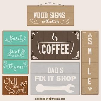 Selezione dei cartelli in legno con messaggi