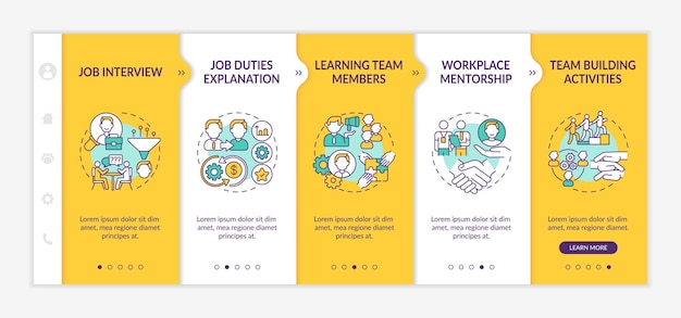 Selection of workers onboarding  template. job responsibilities. process of internship and mentoring. responsive mobile website with icons. webpage walkthrough step screens. rgb color concept