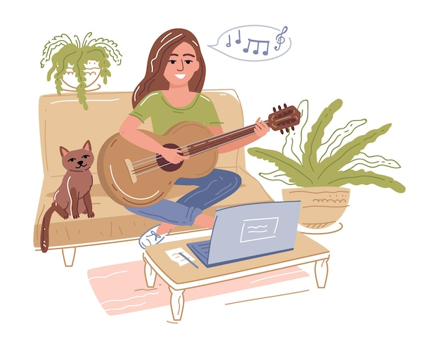 Selective focus of young girl playing acoustic guitar near laptop