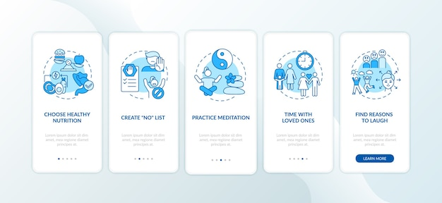 Self care checklist onboarding mobile app page screen with concepts