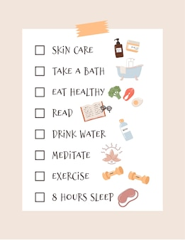 Self-care checklist and routine to do ideas. includes relaxing, exercising, eating well, health, happiness, motivation, skin care, reading, sleeping.  illustration.