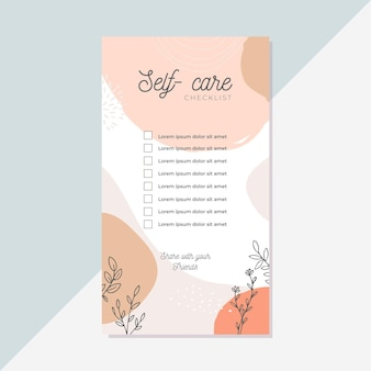 Self care checklist template