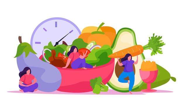 야채 및 기타 건강 식품 일러스트와 함께 자기 관리 개념 평면 및 컬러 구성