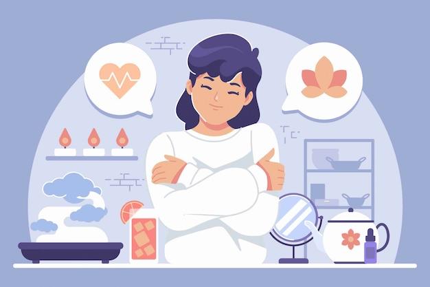 Фон иллюстрации концепции самообслуживания (девушка обнимает себя)