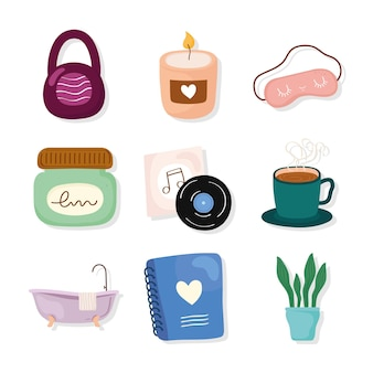 Self care icon collection
