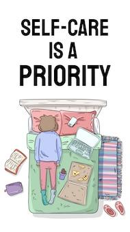 Самообслуживание является приоритетом. зарядите свой внутренний аккумулятор. мотивационный мультфильм вертикальный баннер для социальных сетей и историй. девушка откладывает на кровати. беспорядок дома
