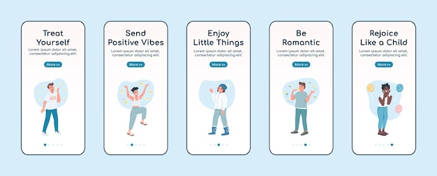 Self care onboarding mobile app screen flat template. rejoice like child. walkthrough website steps with characters. ux, ui, gui smartphone cartoon interface, case prints set
