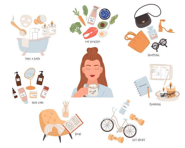 Self-care routine to do ideas. includes relaxing, exercising, eating well, health, happiness, motivation, candles, skin care, and shopping.  illustration.
