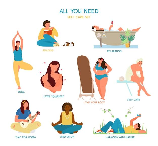 Self care and time for yourself set. women enjoying time alone. reading, taking bath, practicing yoga, self hugging, admiring herself, meditating, playing ukulele.