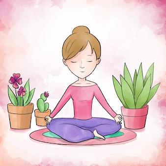 Donna di cura di sé che medita accanto alle piante