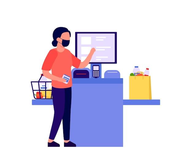 セルフチェックアウトショップ。電子機器で製品の代金を払っている女性。スキャナー付き端末のセルフサービスキャッシャー。モニター付き現金自動預け払い機。