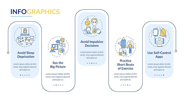 Самоконтроль повышения советы вектор инфографики шаблон. элементы дизайна презентации личностного роста. визуализация данных за 5 шагов. график процесса. макет рабочего процесса с линейными значками