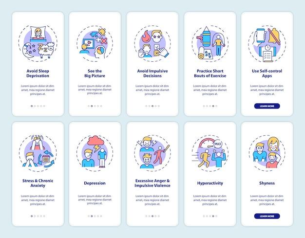 Самоконтроль на экране страницы мобильного приложения с набором концепций