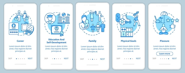 Self-development onboarding mobile app page screen with concepts. career and recreation. life building walkthrough 5 steps graphic instructions. ui vector template with rgb color illustrations