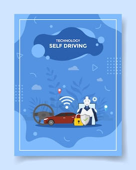 Self driving car around steering wheel robot for template of flyer