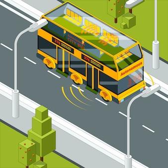 自動運転車。自動車等尺性の自己制御自動車システムの道路写真での自律車両