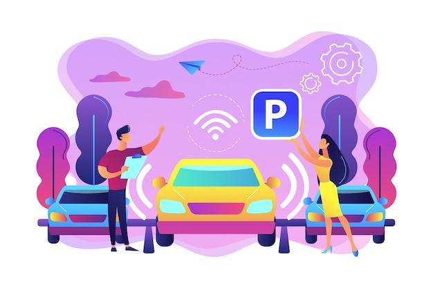 センサー付き自動運転車が駐車場に自動駐車。セルフパーキングカーシステム、セルフパーキング車両、スマートパーキングテクノロジーのコンセプト。明るく鮮やかな紫の孤立したイラスト