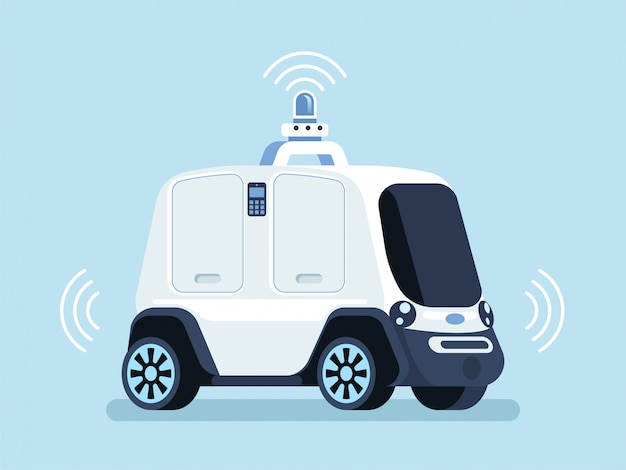Self driving vehicle to deliver pizza background