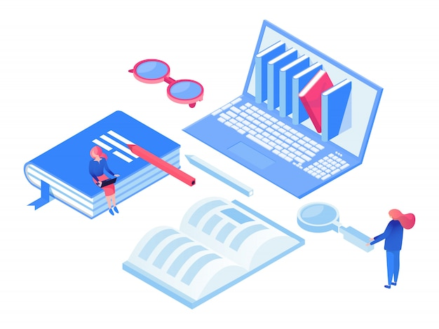 Self education isometric  concept