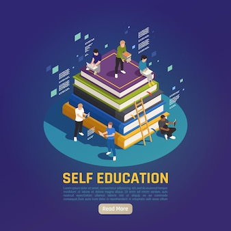 Self education for personal development isometric people reading studying on big books pile