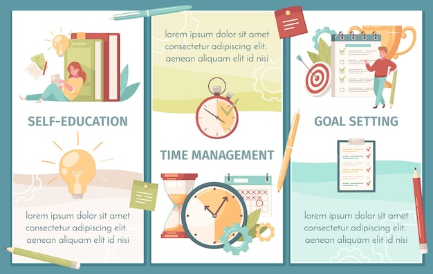Self education, time management and goal setting banners set with tips