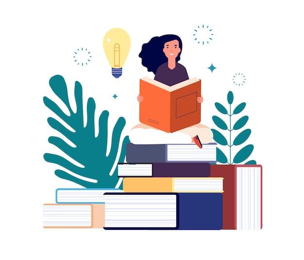 자기 교육. 책을 읽고, 공부하고 새로운 지식을 얻는 여자.