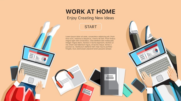 Self-employed persons in home office workspace