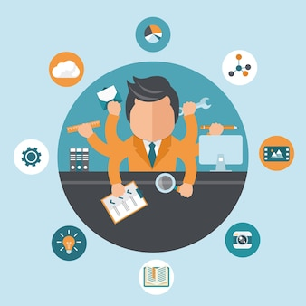 Self employment and multitasking concept