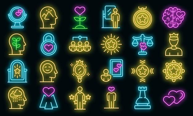 Self-esteem icons set vector neon