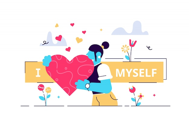 Self esteem illustration. flat tiny personal confidence persons concept. psychological mindset and life attitude as pride, appreciation and acceptance feeling. mental and moral self respect.