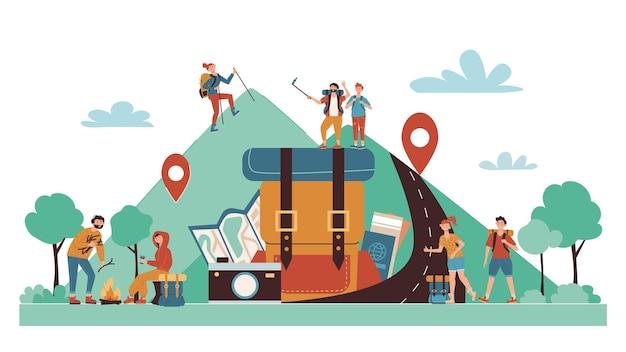 Composizione di cartoni animati da campeggio autoguidati con simboli di posizione della mappa online turisti che fanno escursioni