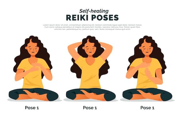 Self-healing reiki poses