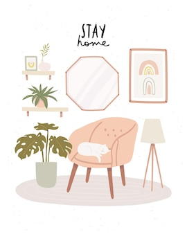 Self isolating with cat at modern living room interior with stay home text. cozy scandinavian living room interior with pink armchair, cat and home plants Premium Vector
