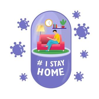 Самоизоляция концепции в форме планшета. молодой человек работает из дома во время covid-19. все остаются дома. самостоятельно изолировать от пандемии.