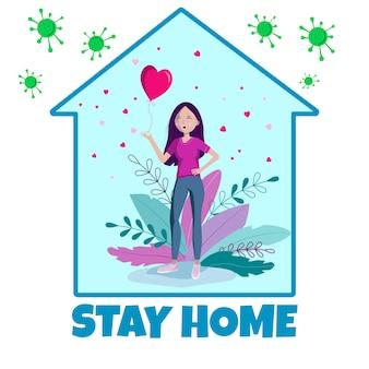 Концепция самоизоляции. оставайся дома. во время covid-19 все остаются дома. самостоятельно изолируйтесь от пандемии.