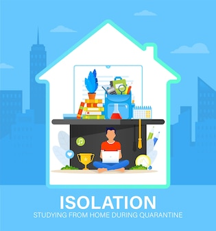 Self isolation concept with young man studying from home