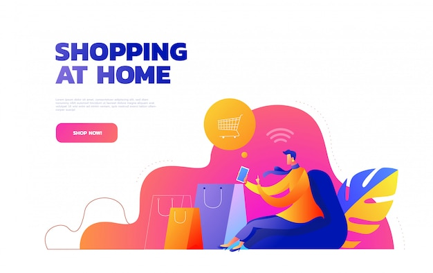Self isolation concept. young girl doing online shopping from home during covid-19. online purchases from home during quarantine. illustration.