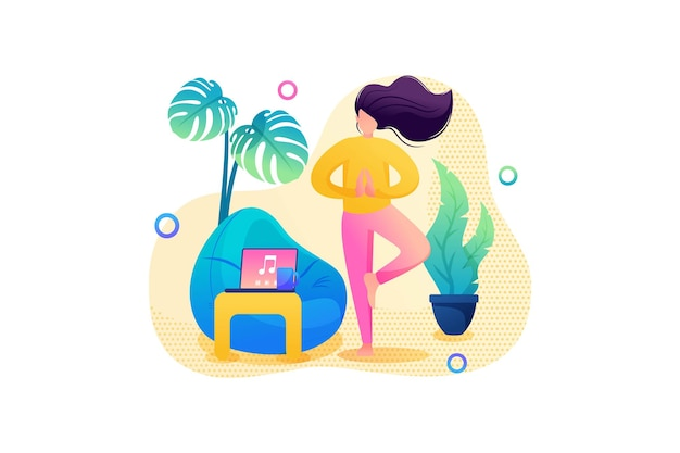 自己隔離、女の子は穏やかな環境で自宅でヨガをします。フラット2d。ベクトルイラストウェブデザイン。