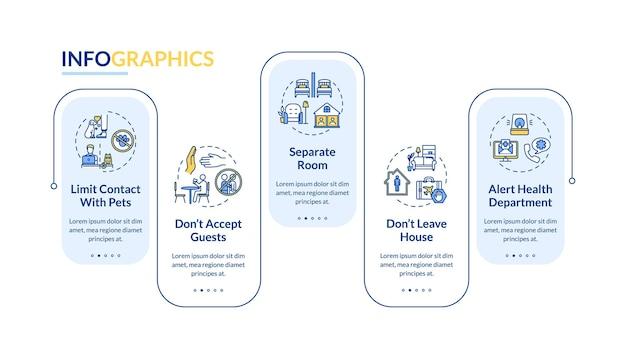 자기 격리 팁 벡터 infographic 템플릿입니다. 집에 있으면 연락처가 프레젠테이션 디자인 요소를 제한합니다. 5단계로 데이터 시각화. 프로세스 타임라인 차트. 선형 아이콘이 있는 워크플로 레이아웃