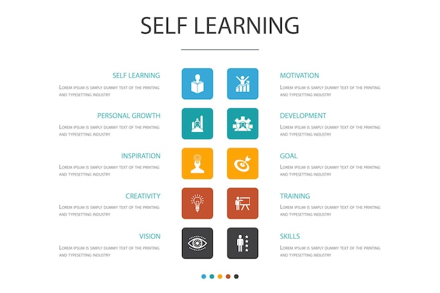 Self learning infographic 10 option concept.personal growth, inspiration, creativity, development simple icons