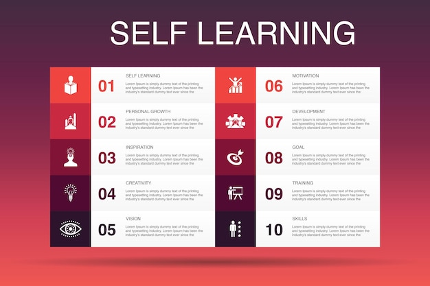 Self learning infographic 10 option template.personal growth, inspiration, creativity, development simple icons