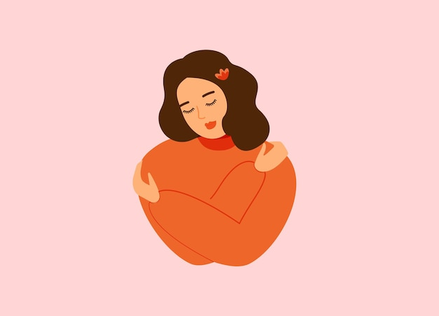 Концепция любви к себе красивая счастливая женщина обнимает себя