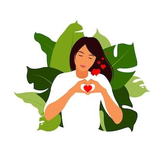 Концепция любви к себе. молодая девушка, делая символ сердца руки с ее пальцами, которые выражают любовь и принятие. плоский вектор.