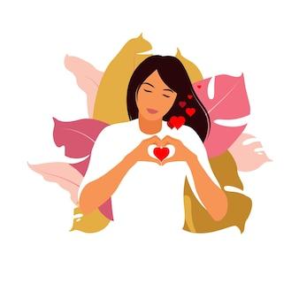 자기 사랑 개념입니다. 사랑과 수용을 표현하는 그녀의 손가락으로 손 심장 기호를 만드는 어린 소녀. 평면 벡터입니다.