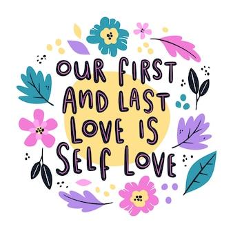 Self love floral lettering