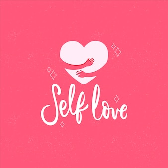 Self love lettering background