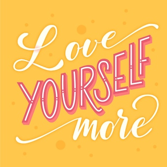 Self-love lettering background